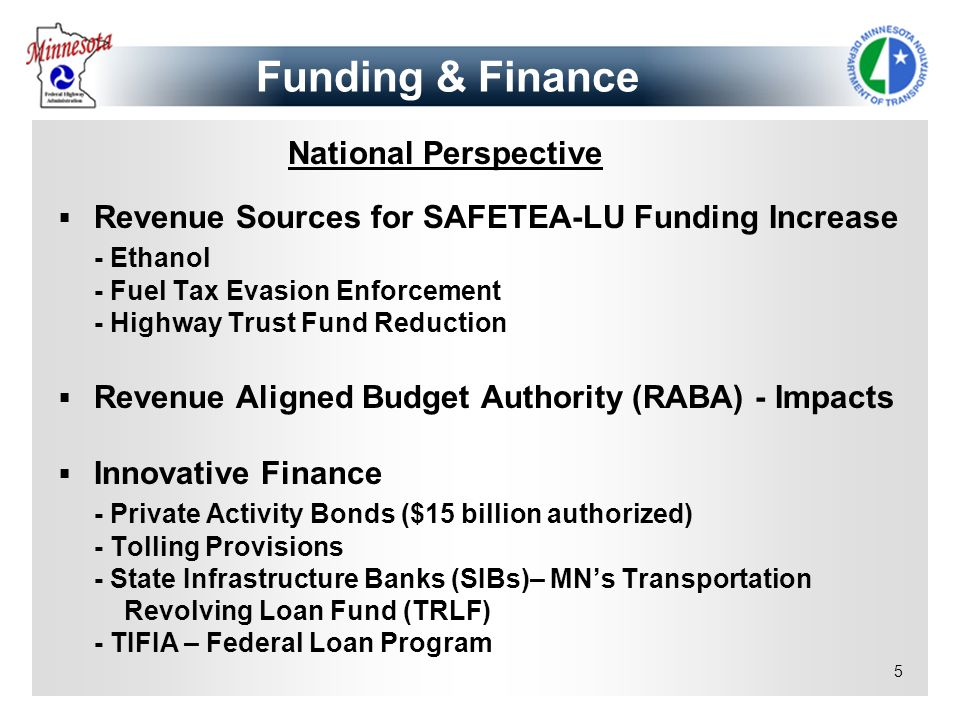 Funding & Finance National Perspective