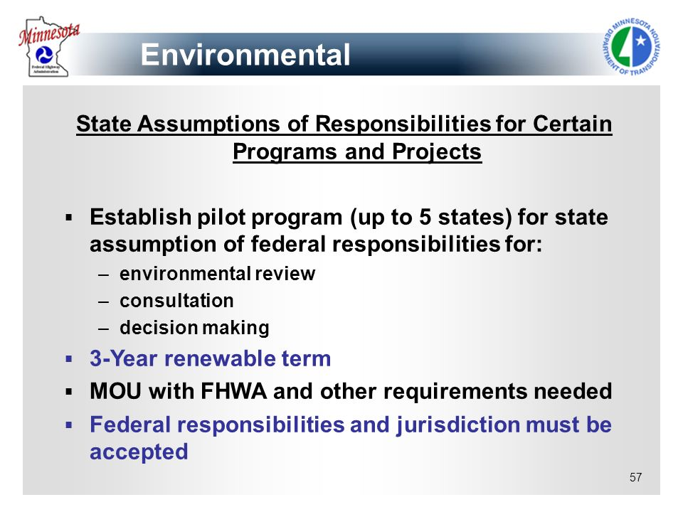Environmental State Assumptions of Responsibilities for Certain Programs and Projects.