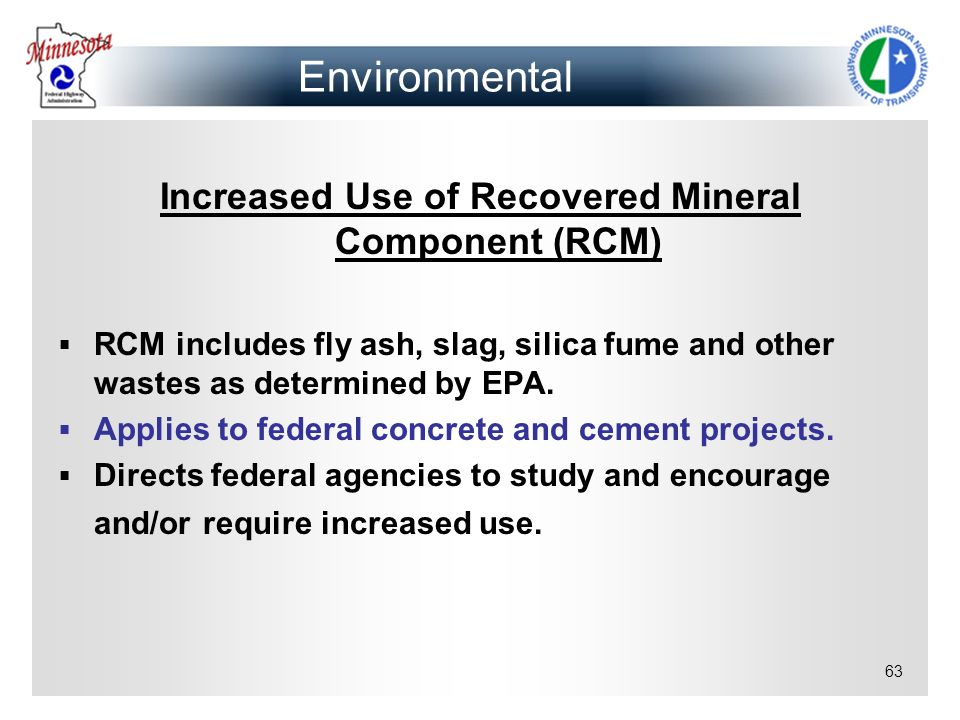 Increased Use of Recovered Mineral Component (RCM)