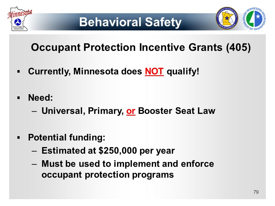 Occupant Protection Incentive Grants (405)