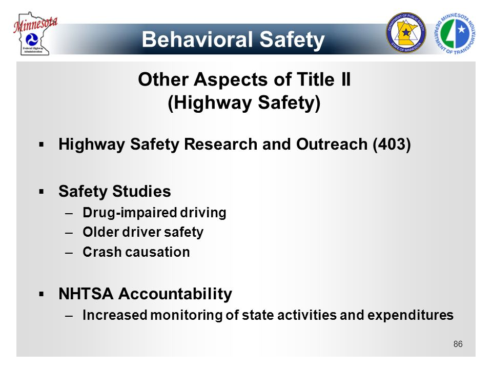 Other Aspects of Title II (Highway Safety)