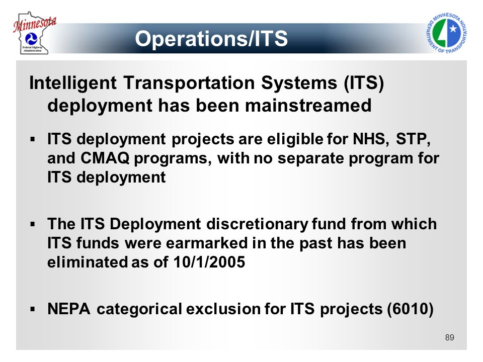 Operations/ITS Intelligent Transportation Systems (ITS) deployment has been mainstreamed.