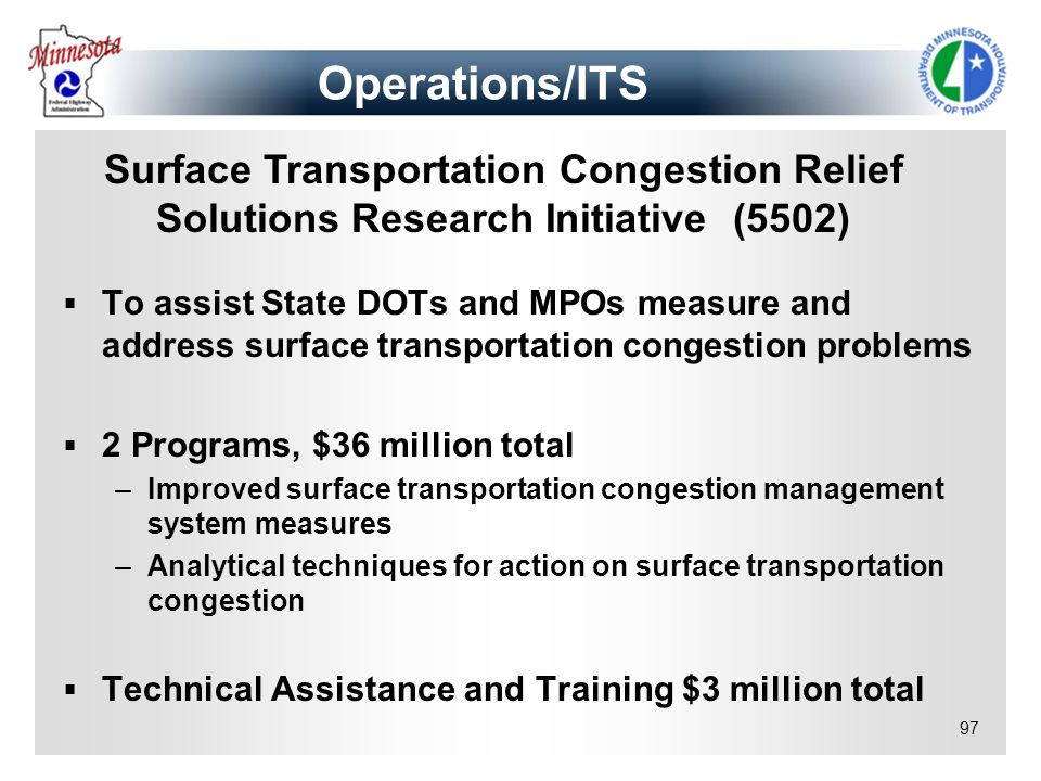 Operations/ITS Surface Transportation Congestion Relief Solutions Research Initiative (5502)