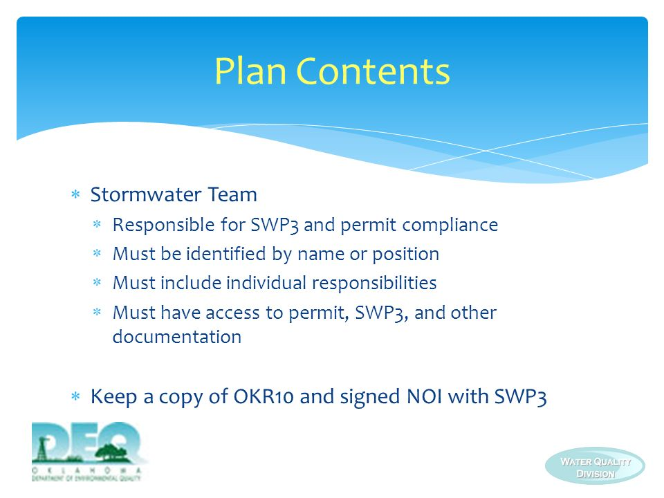 Plan Contents Stormwater Team