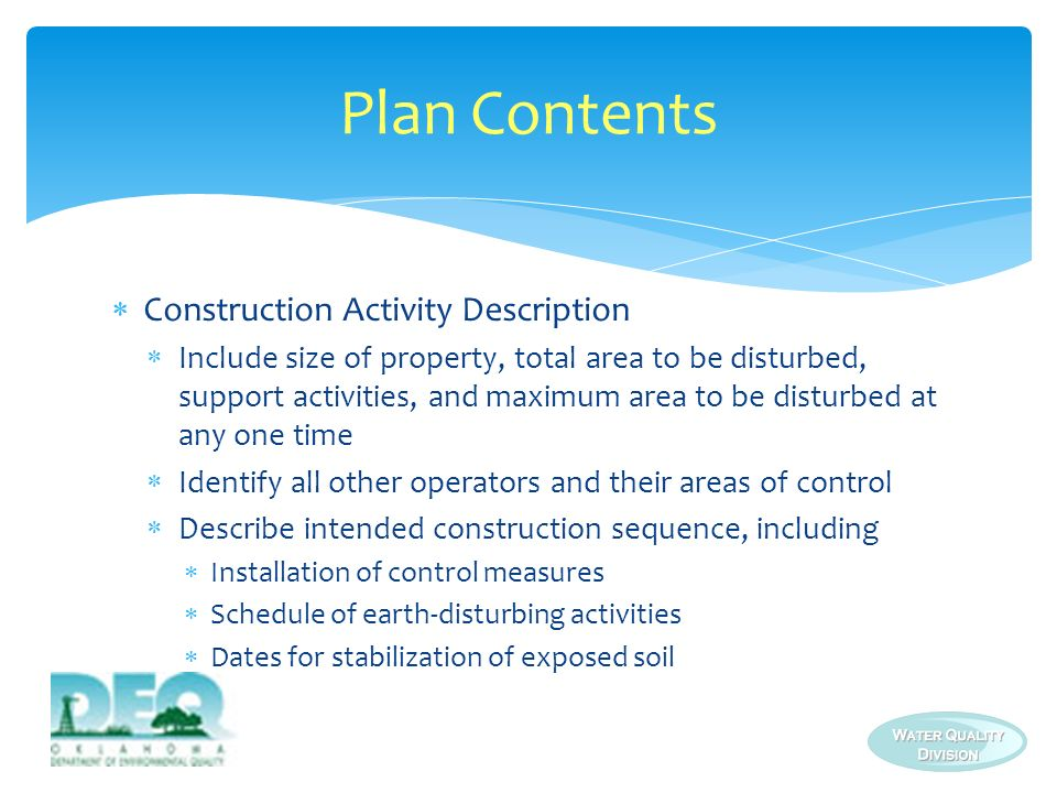 Plan Contents Construction Activity Description