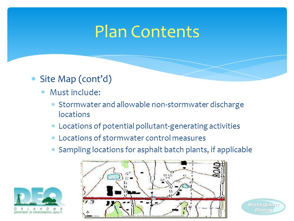 Plan Contents Site Map (cont'd) Must include: