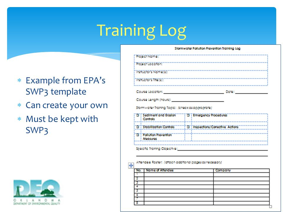 Training Log Example from EPA's SWP3 template Can create your own