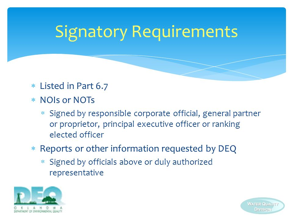 Signatory Requirements