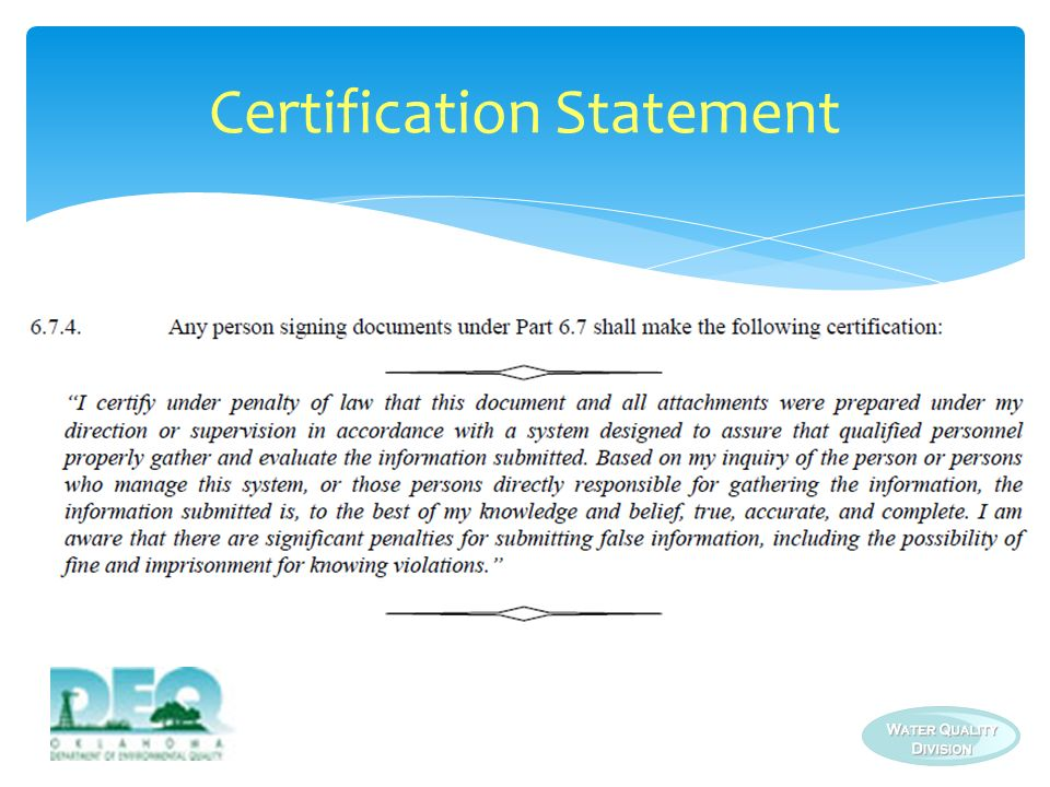 Certification Statement