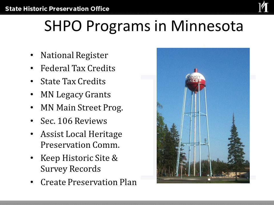 SHPO Programs in Minnesota