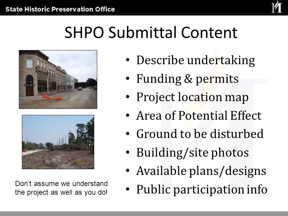 SHPO Submittal Content