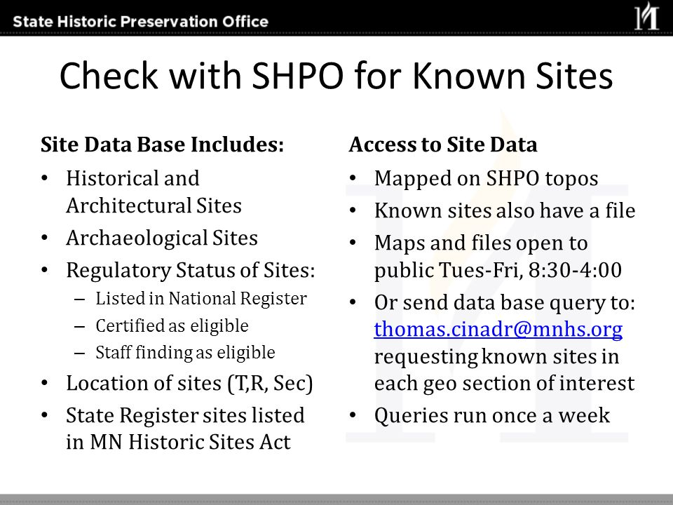 Check with SHPO for Known Sites