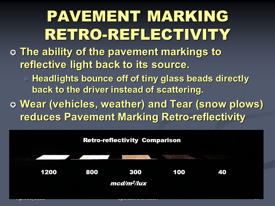 PAVEMENT MARKING RETRO-REFLECTIVITY