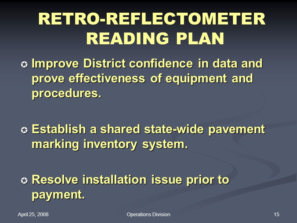 RETRO-REFLECTOMETER READING PLAN