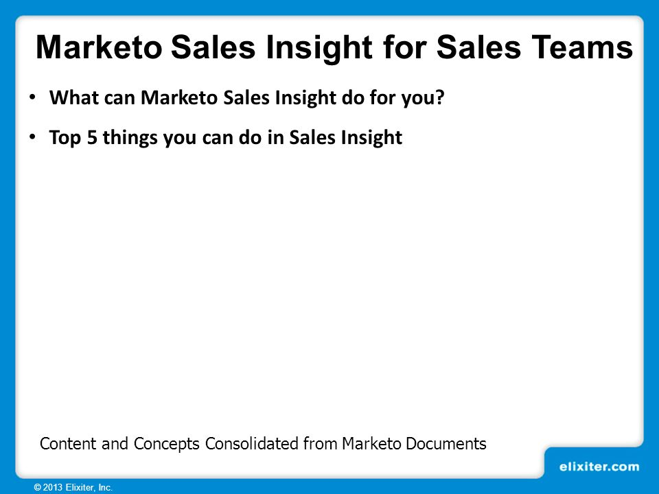 Marketo Sales Insight Benefits and Overview Demo for Sales