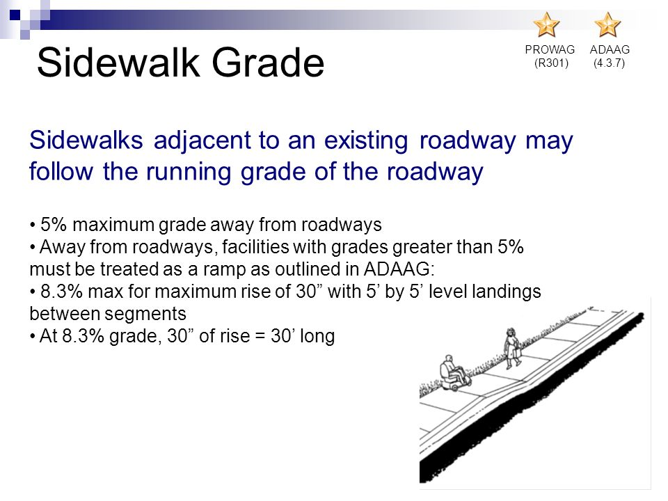 Sidewalk Grade PROWAG. (R301) ADAAG. (4.3.7) Sidewalks adjacent to an existing roadway may follow the running grade of the roadway.