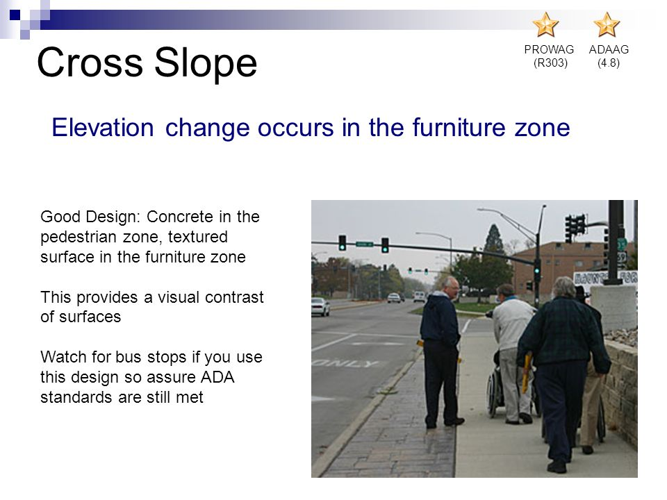 Cross Slope Elevation change occurs in the furniture zone