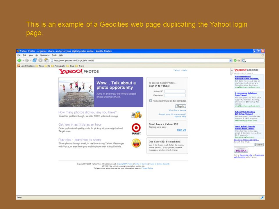 This is an example of a Geocities web page duplicating the Yahoo