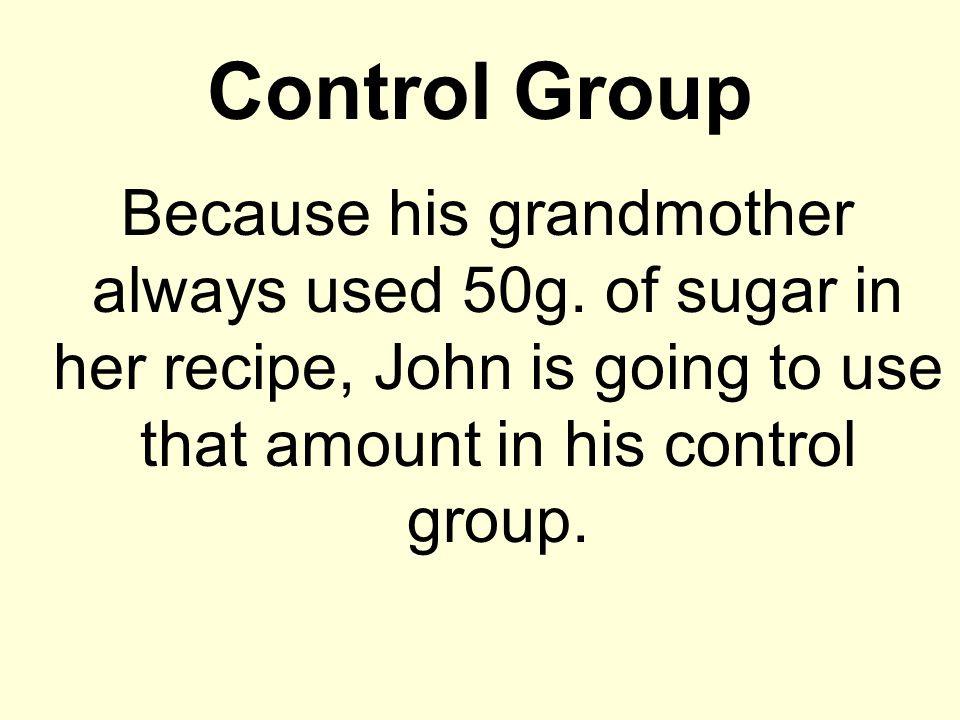 Control Group Because his grandmother always used 50g.