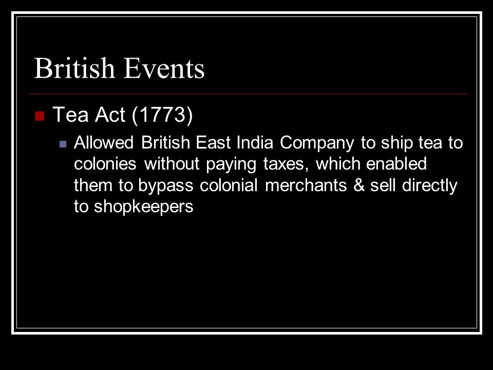 British Events Tea Act (1773)