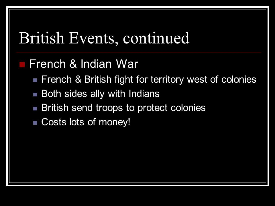British Events, continued