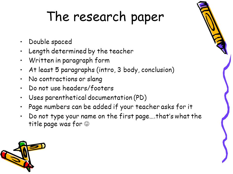 The research paper Double spaced Length determined by the teacher
