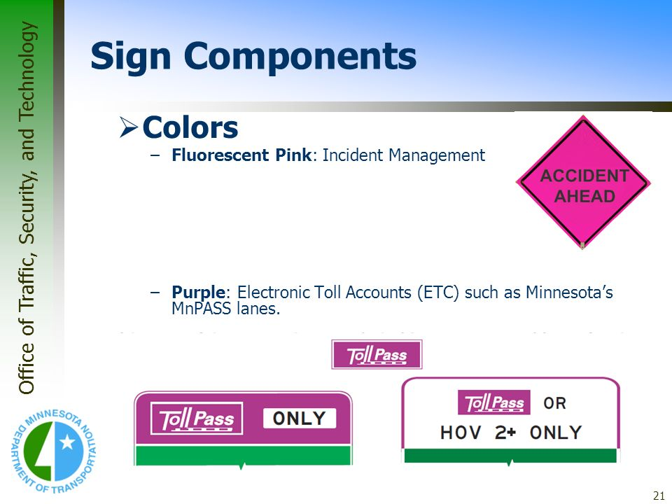 Sign Components Colors Fluorescent Pink: Incident Management
