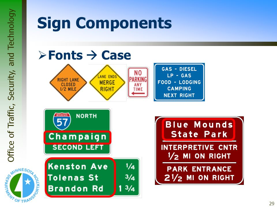 * 07/16/96 Sign Components Fonts  Case *