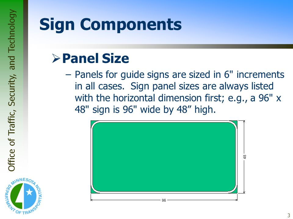 Sign Components Panel Size