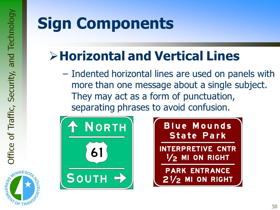 Sign Components Horizontal and Vertical Lines