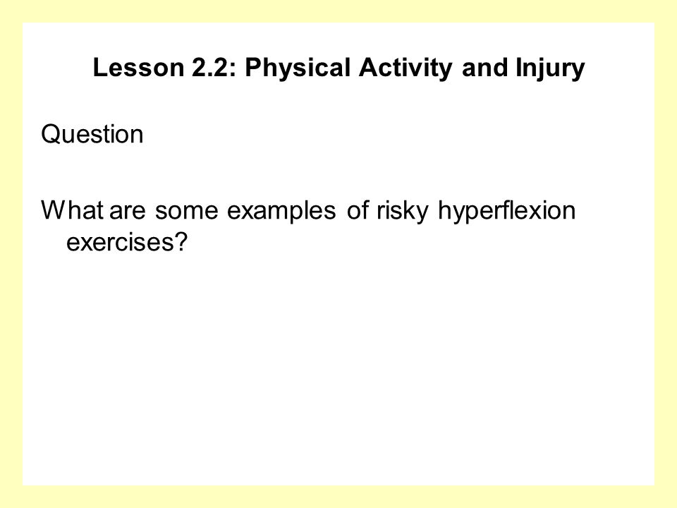 Lesson 2.2: Physical Activity and Injury