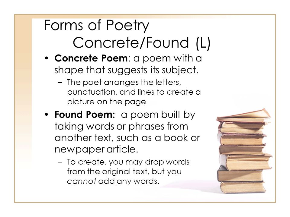 Forms of Poetry Concrete/Found (L)