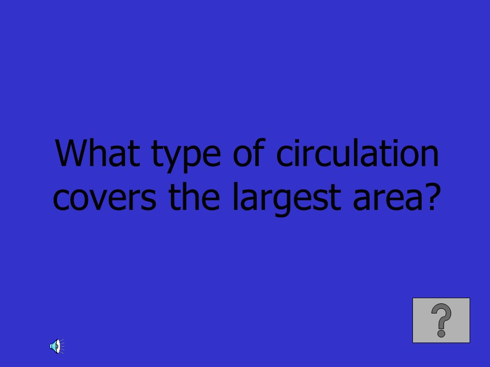 What type of circulation covers the largest area