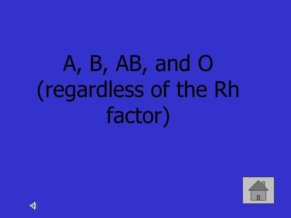 A, B, AB, and O (regardless of the Rh factor)