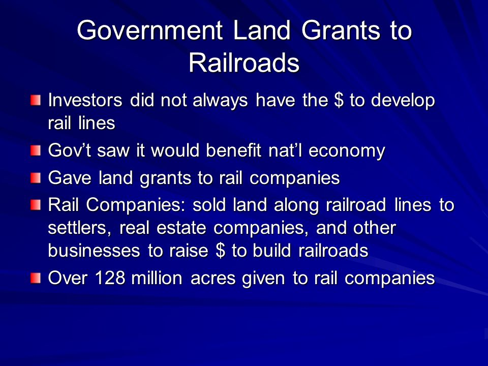 Government Land Grants to Railroads