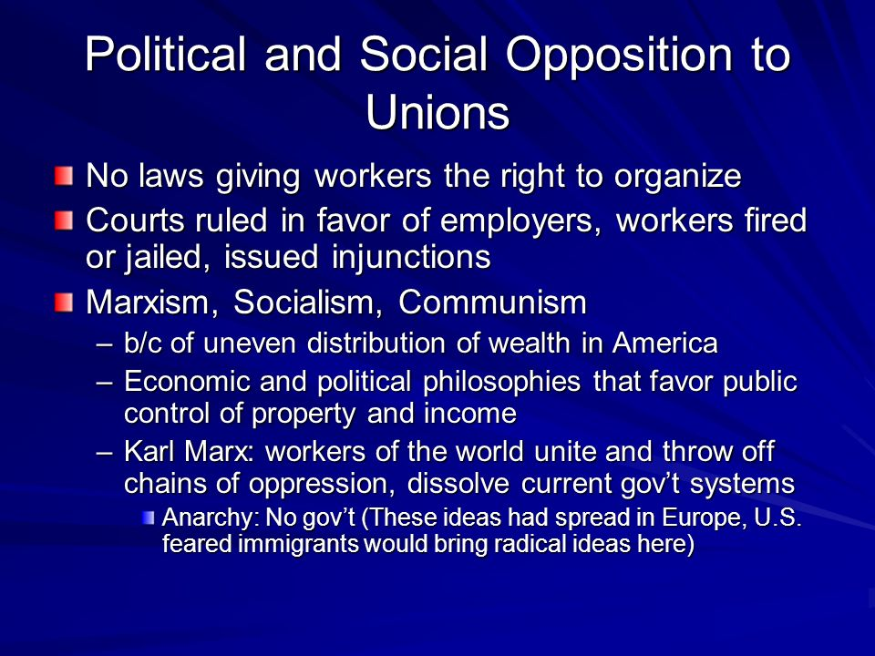 Political and Social Opposition to Unions