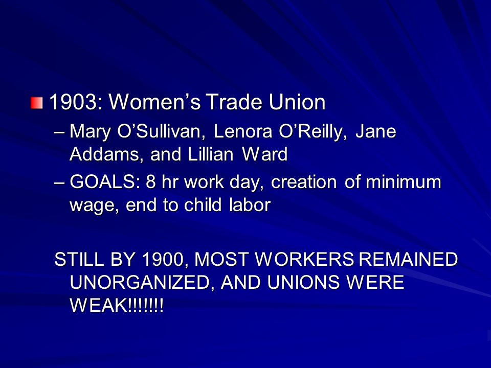 1903: Women's Trade Union Mary O'Sullivan, Lenora O'Reilly, Jane Addams, and Lillian Ward.