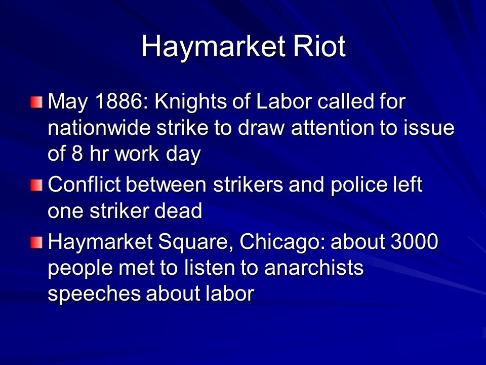 Haymarket Riot May 1886: Knights of Labor called for nationwide strike to draw attention to issue of 8 hr work day.