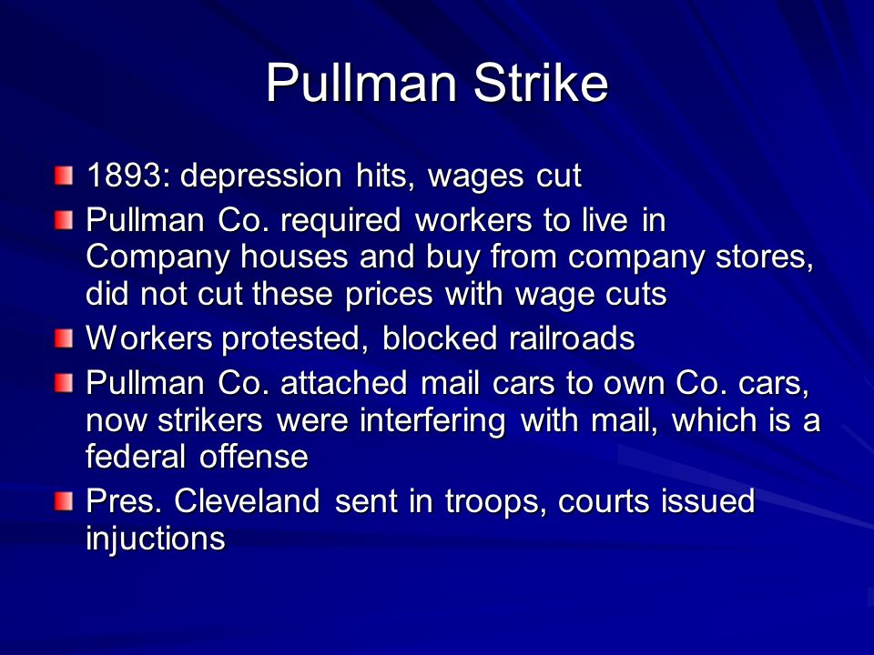 Pullman Strike 1893: depression hits, wages cut