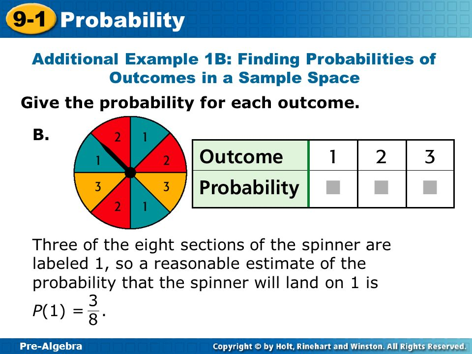 Additional Example 1B: Finding Probabilities of Outcomes in a Sample Space