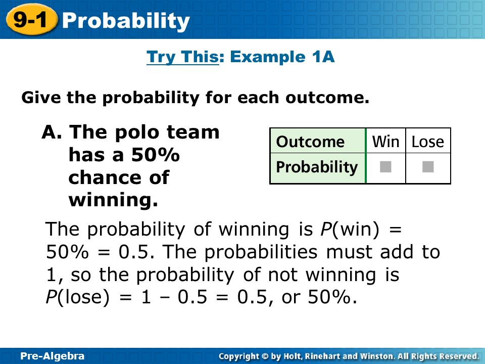 A. The polo team has a 50% chance of winning.