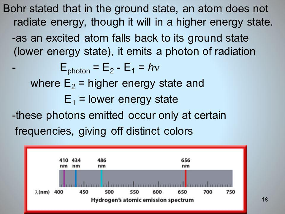 Bohr stated that in the ground state, an atom does not radiate energy, though it will in a higher energy state.