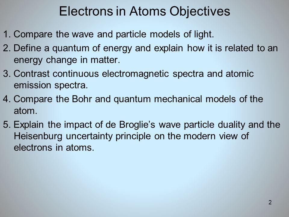 Electrons in Atoms Objectives