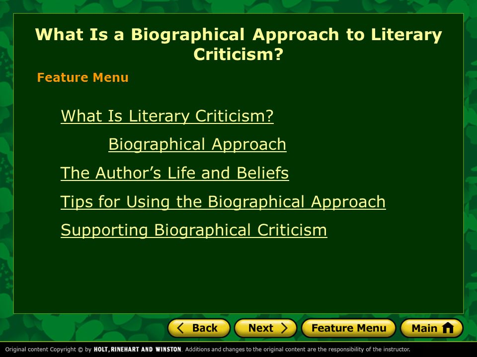 What Is a Biographical Approach to Literary Criticism? - ppt video ...