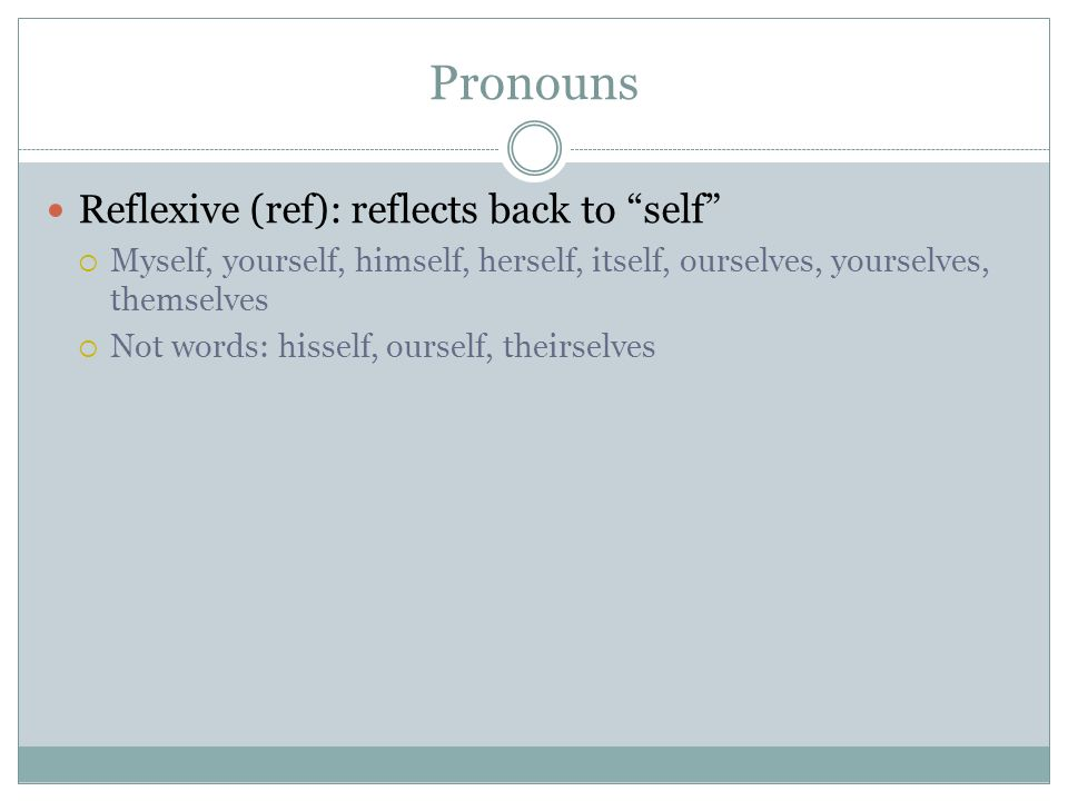 Pronouns Reflexive (ref): reflects back to self