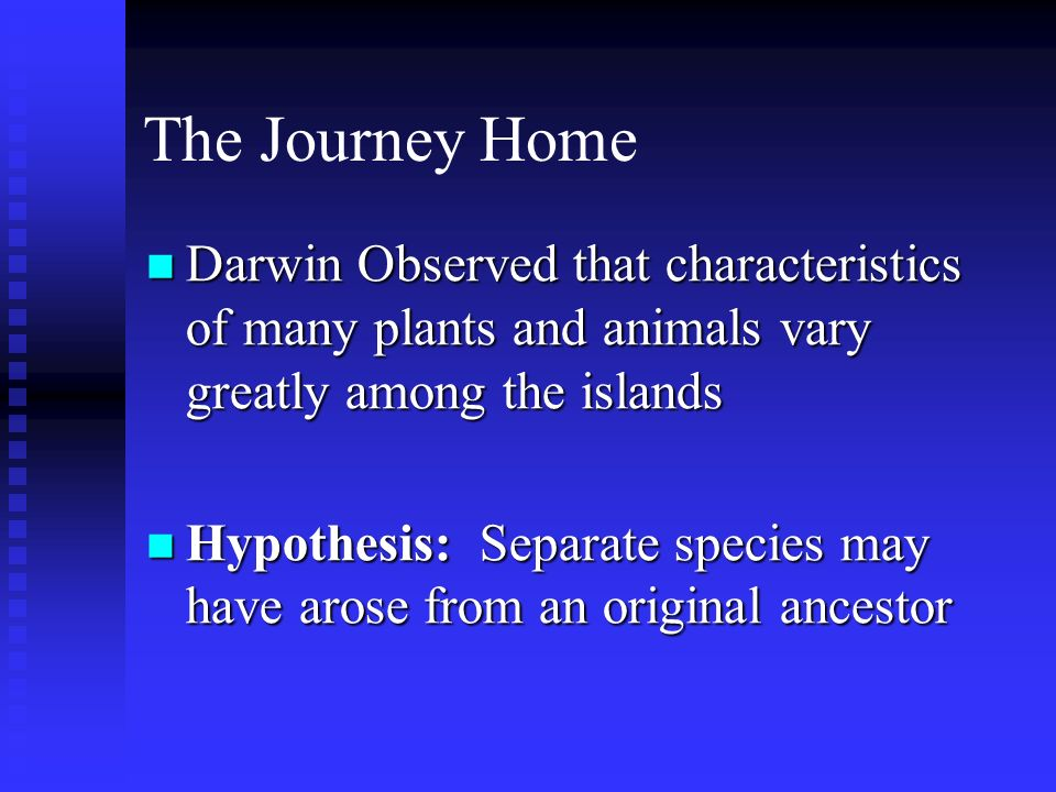 The Journey Home Darwin Observed that characteristics of many plants and animals vary greatly among the islands.