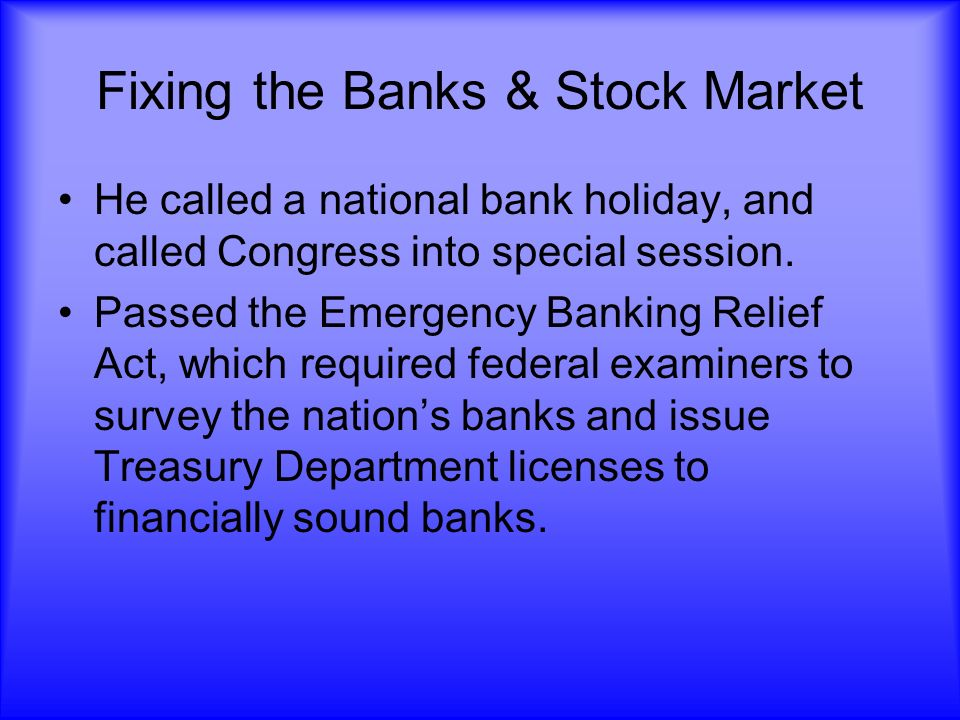 Fixing the Banks & Stock Market