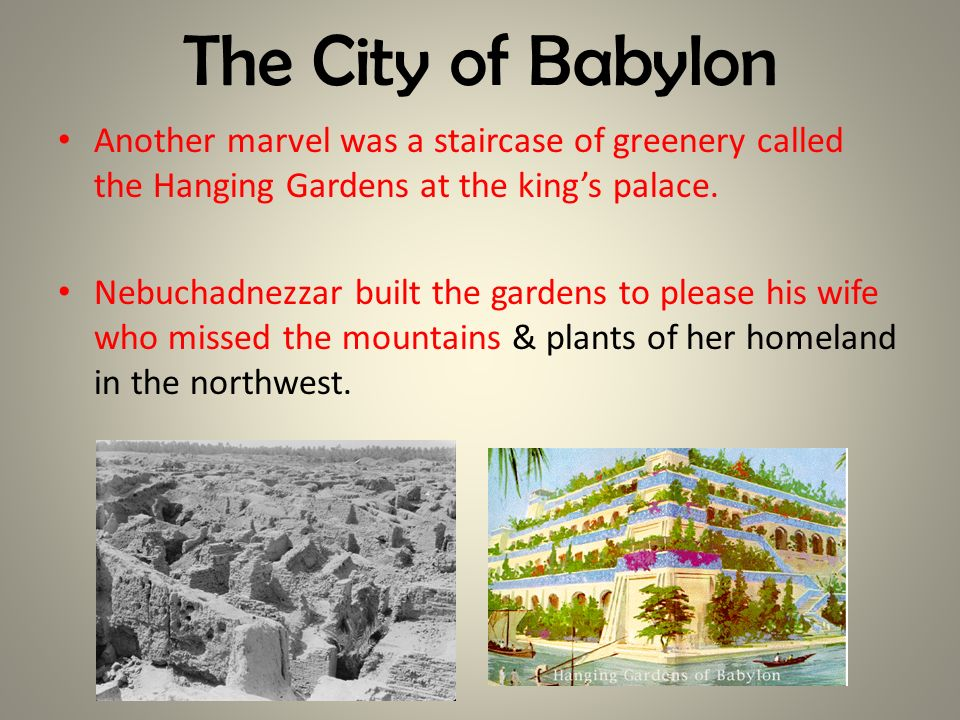 The City of Babylon Another marvel was a staircase of greenery called the Hanging Gardens at the king's palace.