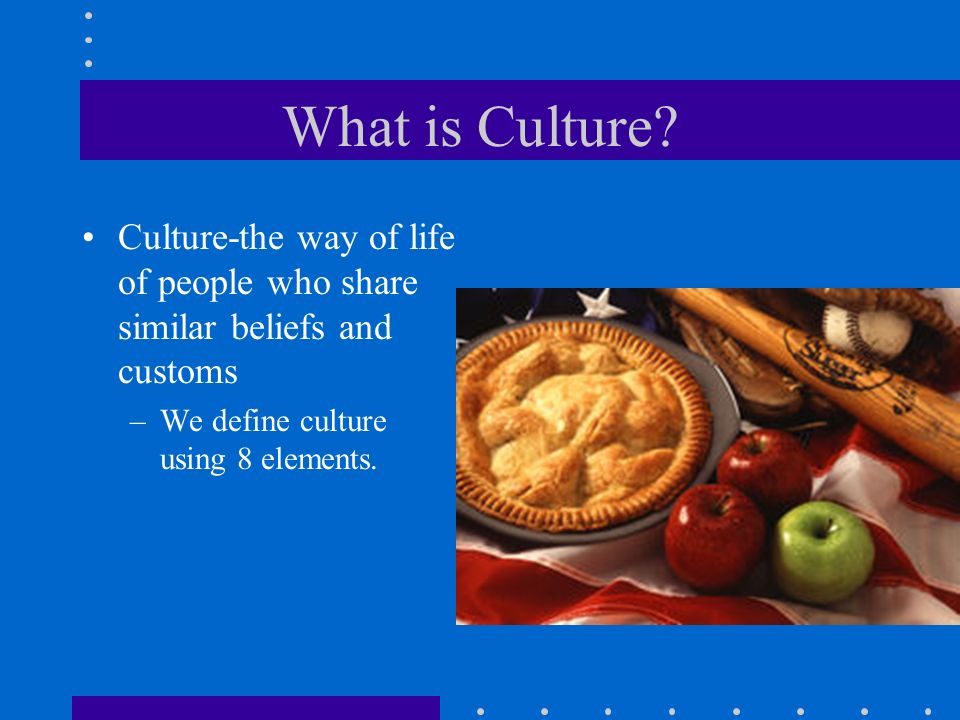What is Culture. Culture-the way of life of people who share similar beliefs and customs.