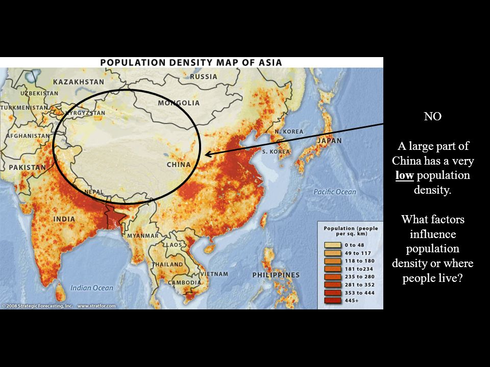 A large part of China has a very low population density.